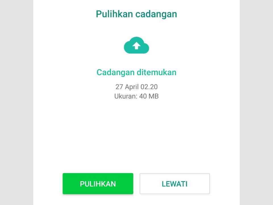 Pulihan cadangan pesan WhatsApp